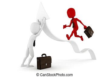 3d man businessman and arrow