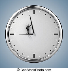 3d man businessman and clock, conce