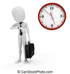 3d man businessman and clock
