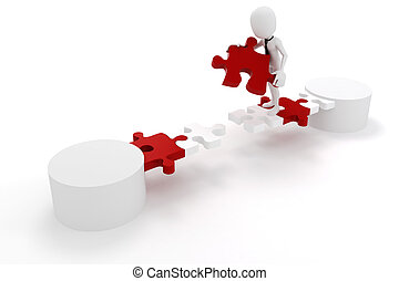 3d man businessman and puzzle link