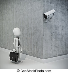 3d man, businessman and security camera