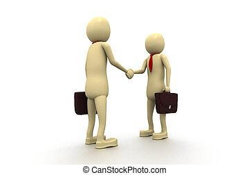 3d man businessman closing a deal