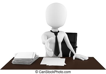 3d man businessman hand shake over desk