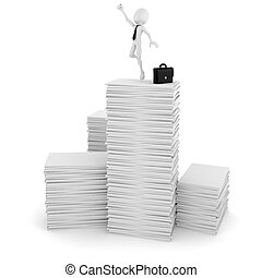 3d man businessman happy on a pile of blank documents