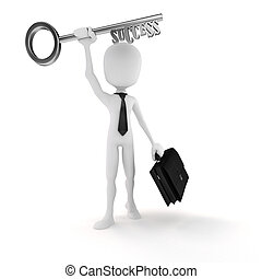 3d man businessman holding the key to success
