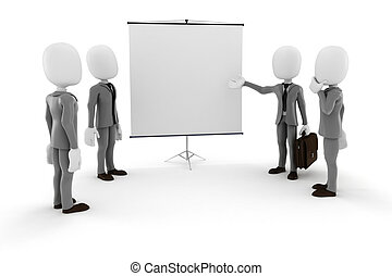 3d man businessman in front of a blank  canvas