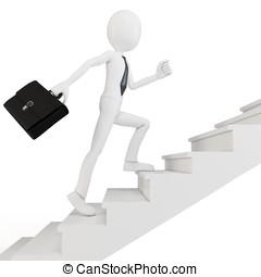 3d man businessman racing upstairs