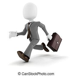 3d man businessman running on white background
