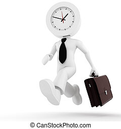 3d man,  businessman running out of time
