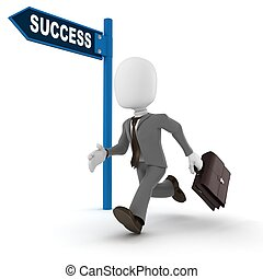 3d man businessman running to success,  on white background