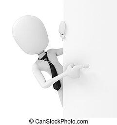 3d man businessman standing behind a blank board