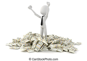 3d man businessman standing in the middle of stack of money