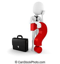 3d man businessman standing near a big red question mark, on...