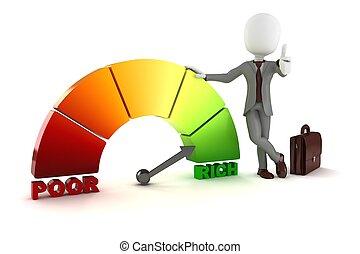 3d man businessman standing near a poor-rich graph...