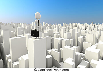 3d man businessman standing on the rooftop of skyscraper