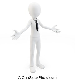3d man businessman welcoming with open arms