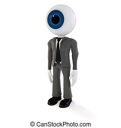 3d man businessman with a big eye as head, on white background