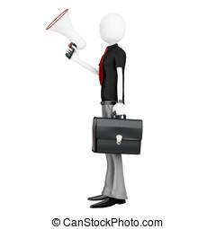 3d man businessman with a megaphone