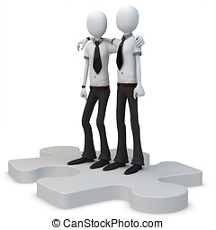 3d man businessman with a piece of puzzle