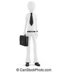 3d man businessman with briefcase