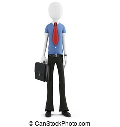 3d man businessman with briefcase