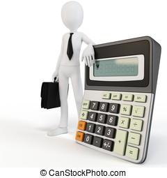 3d man businessman with calculato