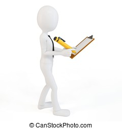 3d man businessman with clipboard and pen