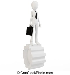 3d man businessman with gear