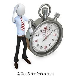 3d man businessman with stopwatch