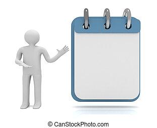 3d man calendar concept.  illustration on white