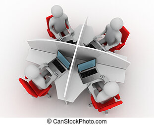 3d man, call center . 3d rendered illustration