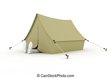 3d man camper, sleeping in a tent, isolated on white
