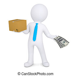 3d man, cardboard box and money - 3d man changing a...