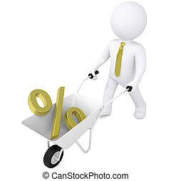 3d man carries wheelbarrow the golden percentage