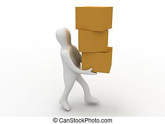 3d man carry boxes
