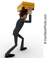 3d man carry suitcase on head concept