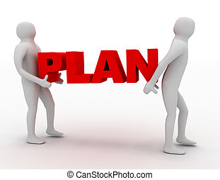 3d man carry text plan. business concept