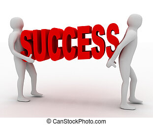 3d man carry text success . business concept