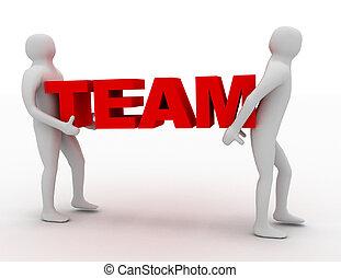 3d man carry text team. business concept