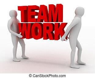 3d man carry text teamwork. business concept