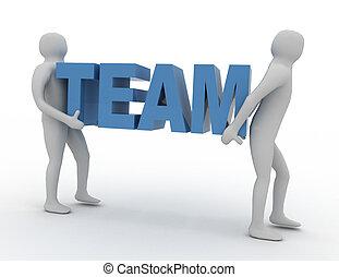 3d man carry word text team.team concept