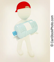 3d man carrying a water bottle with clean blue water . 3D illustration. Vintage style.