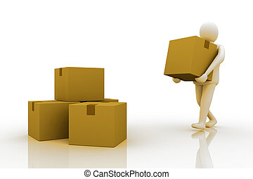 3d Man carrying cardboard box,