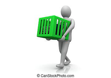 3d Man carrying cardboard box