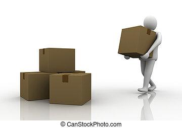 3d Man carrying cardboard box,