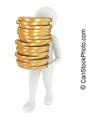 3d man carrying coins - 3d man carrying stack of big golden...