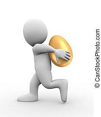 3d man carrying golden egg on his back
