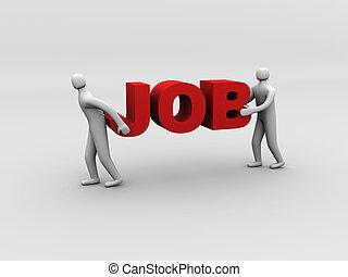 3d man carrying heavy job sign. Overworking concept.