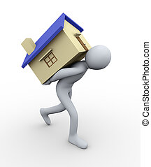 3d man carrying house