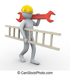 3d man carrying ladder and wrench